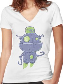 Fishing Robot Women's Fitted V-Neck T-Shirt