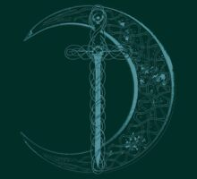 Blue Celtic Moon and Sword by Packrat