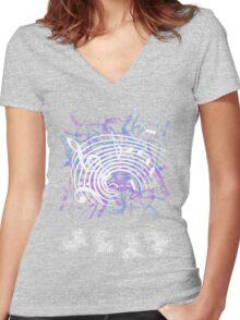 White Music Notes Women's Fitted V-Neck T-Shirt