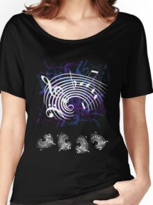 White Music Notes Women's Relaxed Fit T-Shirt