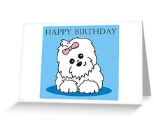 Coton de Tulear Blue Happy Birthday Greeting Card