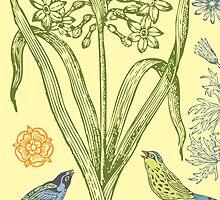 Yellow Bird Ornamental - card  by Andi Bird