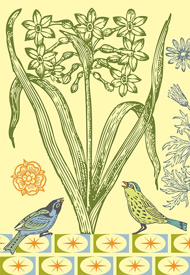 Yellow Bird Ornamental - card  by Andi Bird