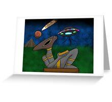 Mayan Alien Golden Bowl Greeting Card