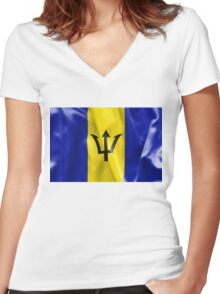 Barbados Flag Women's Fitted V-Neck T-Shirt