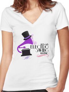 Electro Swing Women's Fitted V-Neck T-Shirt