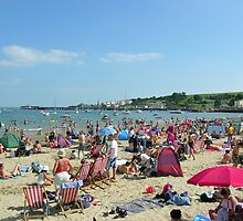 Swanage beach on the late August bank holiday, south coast of England by Philip Mitchell