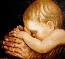 Baby in G'Father's Hands #2 by Cathy Amendola