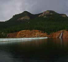 Dam Rainfall veils Mt. Big Chief, Rosemont Reservoir, CO 2009 by J.D. Grubb