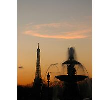 Eiffel Tower & Fountain at Sunset Photographic Print