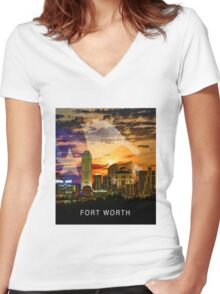 Fort Worth Skyline Women's Fitted V-Neck T-Shirt