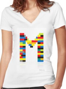 """""""M"""" Women's Fitted V-Neck T-Shirt"""