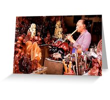 Flute Player in Ubud Market, Bali Greeting Card