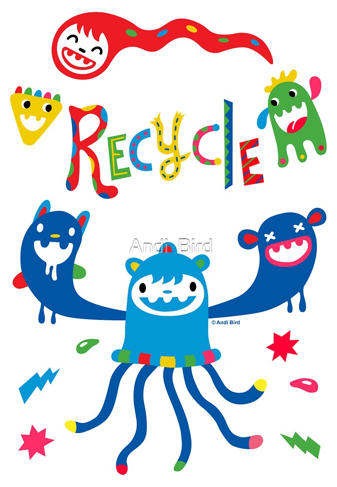 Recycle Monster ll - card by Andi Bird