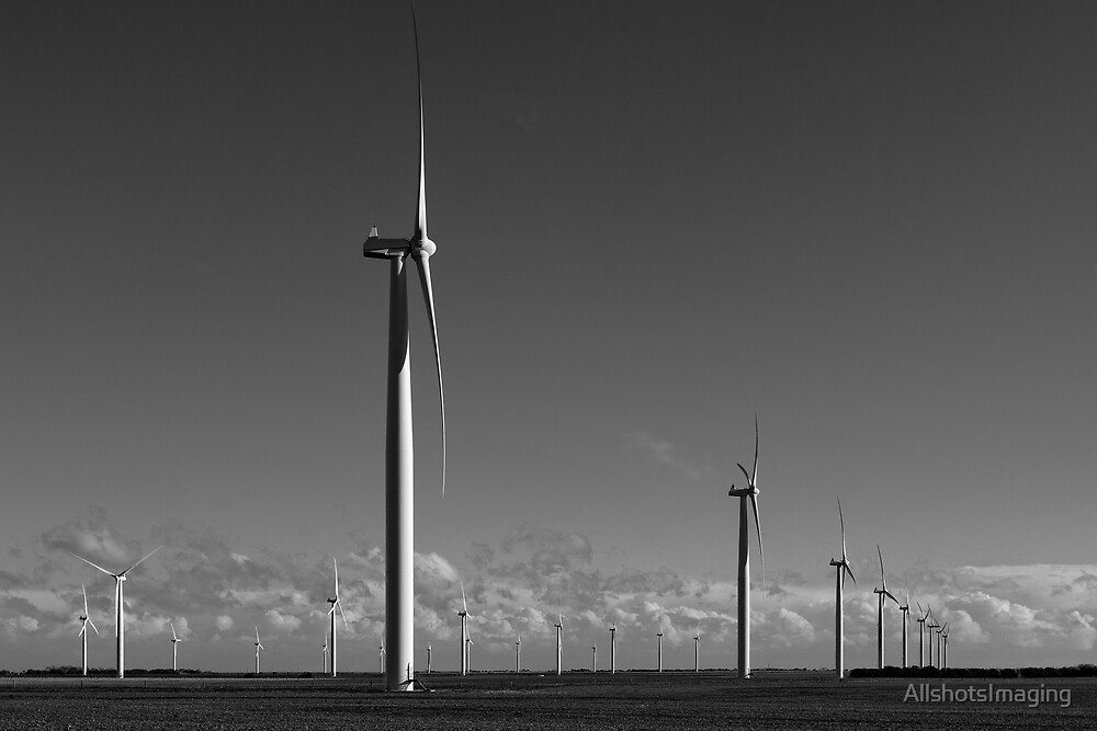 The many Turbines of Wattle Point - Monochrome by AllshotsImaging