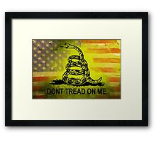 Don't Tread on Me Shirts & Sticker American Flag Background Framed Print