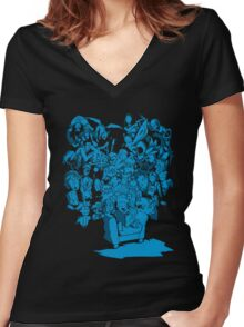 Tales of Video Games (blue) Women's Fitted V-Neck T-Shirt