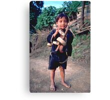 Boy with go-kart Canvas Print