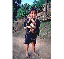 Boy with go-kart Photographic Print