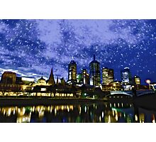 Melbourne City at A Fancy Winter Night Photographic Print