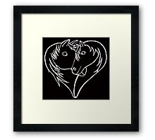 For the Love of Horses (white on solid) Framed Print