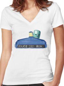 BMO Meet TARDIS Women's Fitted V-Neck T-Shirt