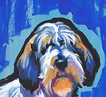 PBGV petit basset griffon vendeen Bright colorful pop dog art by bentnotbroken11