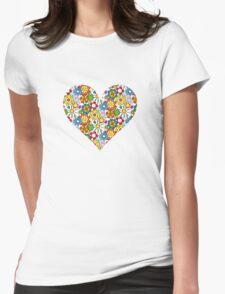 Flower-Heart Womens Fitted T-Shirt