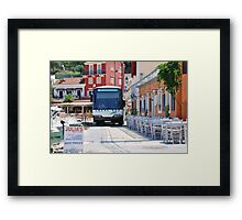 Local bus at Loggos, Paxos island Framed Print
