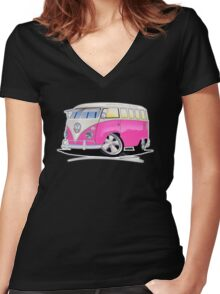VW Splitty (23 Window) Camper Van Pink Women's Fitted V-Neck T-Shirt