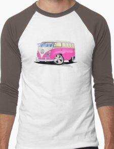 VW Splitty (23 Window) Camper Van Pink Men's Baseball ¾ T-Shirt