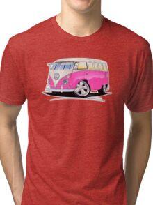 VW Splitty (23 Window) Camper Van Pink Tri-blend T-Shirt
