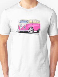 VW Splitty (23 Window) Camper Van Pink T-Shirt