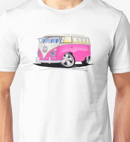 VW Splitty (23 Window) Camper Van Pink Unisex T-Shirt