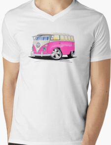 VW Splitty (23 Window) Camper Van Pink Mens V-Neck T-Shirt