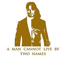 A Man Cannot Live by Two Names Photographic Print