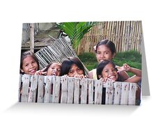 Philippines girls peering over the fence Greeting Card