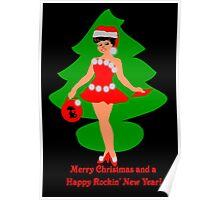 50s rocking Christmas card Poster