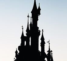 Sunset sleeping beauty castle by disneylifelover