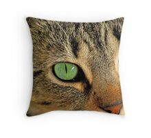 Green Eyed Lady Throw Pillow