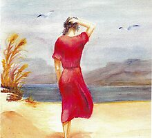 Woman in Red by Elaine Sharshon