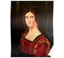 Renaissance lady oil paint study based on La belle Ferroniere Poster