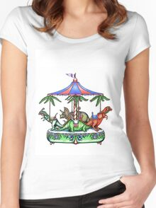 dinosaur carousel... Women's Fitted Scoop T-Shirt