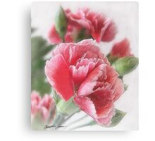 Red-Pink Carnations 1 Painterly Canvas Print