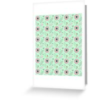Mint Pink Spring Flowers Illustration Greeting Card