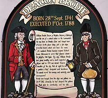 Sign outside Deacon Brodies Tavern, Edinburgh. by Finbarr Reilly