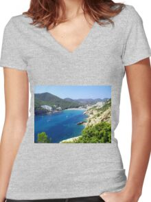 Cala Llonga Bay II Women's Fitted V-Neck T-Shirt