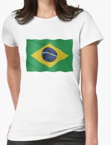 Brazilian flag and football Womens Fitted T-Shirt