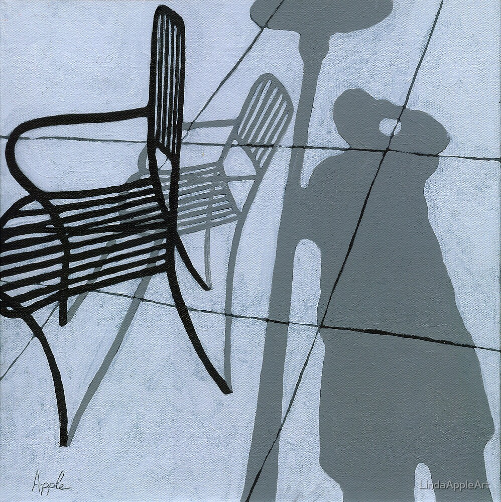 Cafe Shadows - self portrait painting by LindaAppleArt