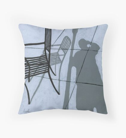 Cafe Shadows - self portrait painting Throw Pillow